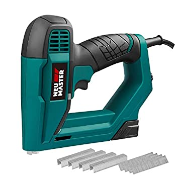 Brad Nailer NEU MASTER NTC0060 Electric Nail Gun/Staple Gun for DIY Project of Upholstery Carpentry and Woodworking Including Staples and Nails