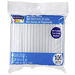 100 piece mini hot glue gun adhesive sticks refill pack High quality and all purpose Offers an excellent adherence to a wide varieties of materials including plastics, ceramics, paperboards, metals, wood, fabric, leathers, acrylics and glass Superior...