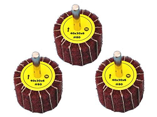 3 Stück Fächerschleifer mit Vlies-Gewebekombination 40mmx30mm, 6mm Einspannschaft, Körnung: 80 - Schleifmopstift, Lamellenschleifer, Schleifmop Schleifvlies, Lamellenrad mit Schaft.