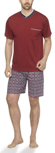 Moonline - Herren Shorty Schlafanzug kurz Pyjama mit karierter Hose- Gr. 50/52 (L), Bordeaux/Blau