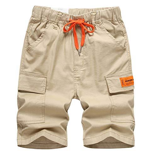 YoungSoul Short Garçon Bermuda Cargo Enfant Pantalons Coton Été Taille Élastiquée Pantacourts avec Cordon de Serrage Contrastant Kaki 2/11-12 Ans Taille 160