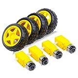 piezas electrónicas DC Motor eléctrico con el juguete plástico del coche del neumático rueda de eje doble Dirigido TT magnético robusto Motor Caja de...