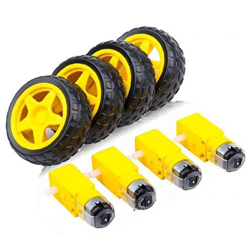 piezas electrónicas DC Motor eléctrico con el juguete plástico del coche del neumático rueda de eje doble Dirigido TT magnético robusto Motor Caja de cambios fuertes y (amarillo)