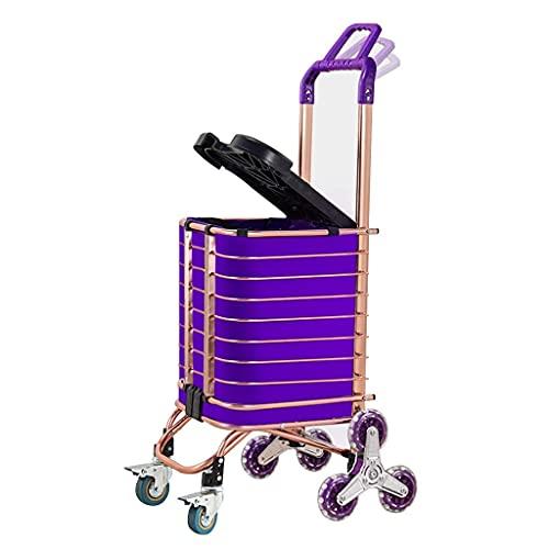 LLSS Klappbarer Einkaufswagen Reise-Einkaufswagen Einkaufstasche Abnehmbar, Doppelgriffe, Treppensteigen, Vorderrad mit Handbremsen