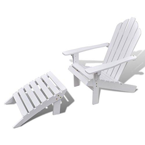 Festnight Holzsessel Gartenstuhl Gartensessel aus Holz mit Fußhocker Witterungsbeständig Weiß