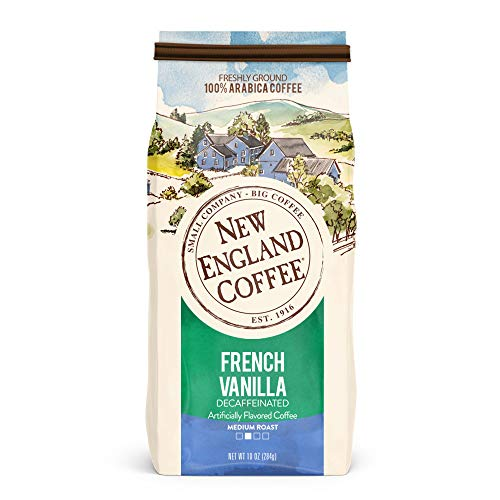 New England Coffee French Vanilla Decaffeinated Medium Roast Ground Coffee 10 oz. Bag
