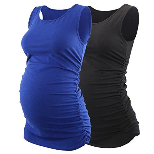 ZUMIY Schwangere Top, Maternity-Shirt Schwangerschaft Stilltop, Frauen Baumwoll Rundhals Rüschen Taille Mutterschaft Unterwäsche (L/XL, Black+Blue/2-pk)