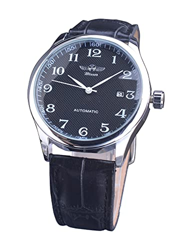 Reloj de pulsera mecánico automático analógico impermeable para hombre con números arábigos grandes y fáciles de leer, Montre Homme