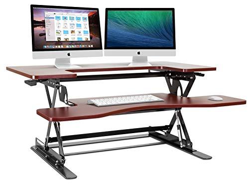Halter Height Adjustable Pre-Assembled Standing Desk Converter, Elevating Desktop Riser, Standing Desk for Sit or Stand Computer Workstations, 36 Inches; Cherry