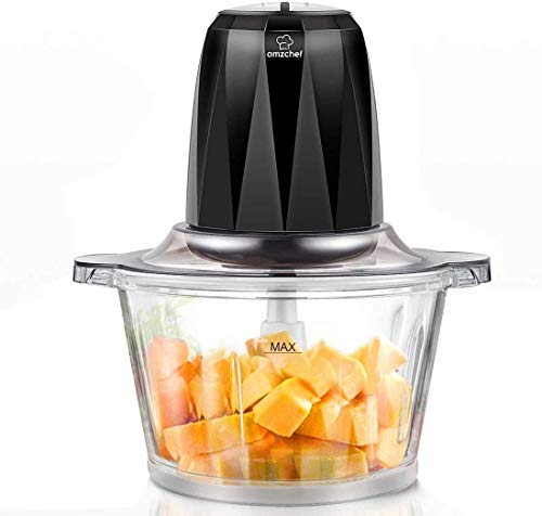 AMZCHEF Zerkleinerer Elektrisch mit 2 Geschwindigkeitsstufen, Bremsfunktion, 1,8L BPA Frei Glasbehälter für Fleisch, Gemüse, Obst, Zwiebel und Kartoffel, 4 Edelstahl-Messer, 350W Multi-zerkleinerer