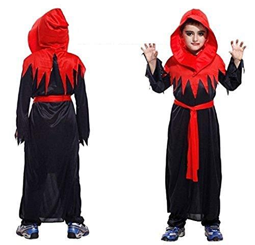 Maat xl - 9/10 jaar - kostuum - vermomming - carnaval - halloween - gotische minister - duivel - sekte - zwarte kleur - kind