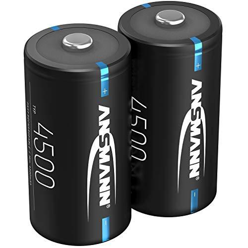 ANSMANN Akku C 4500mAh NiMH 1,2V - Baby C Batterien wiederaufladbar mit geringer Selbstentladung ideal für Boombox, medizinische Geräte, Laterne, Taschenlampe (2 Stück)