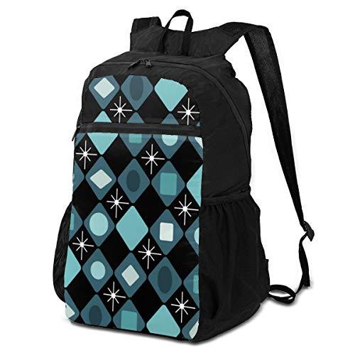 Lesif Sac à dos ultraléger pliable de randonnée pour voyage, camping, activités en plein air (mi-siècle, moderne noir/turquoise)