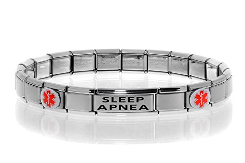 Dolceoro Sleep APNEA Medical Alert ID Bracelet - Stretchable Modular Charm Link - Stainless Steel