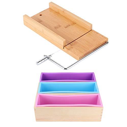 Huakii 【Cadeau d\'Avril】 Caja de Madera, Juego de moldes de Silicona, Cortador de jabón Manual de 1200 ml, Molde Antiadherente para jabón, para el hogar