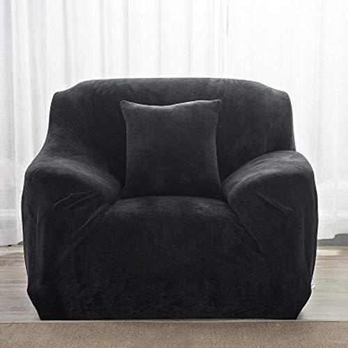 Findm Store Sofabezug, dick, weich, für 1 / 2 / 3 / 4-Sitzer, reine Farbe, Sofabezug, strapazierfähig, dehnbar, bequem, warm, Couch-Überzug, Schwarz , 1 Seater:90-140cm