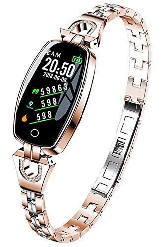 Rosegold Smartwatch Damen Armkette Diamant Fitness Armband aus Edelstahl Pulsmesser Kalorienzähler Schlafüberwachung Tracker Uhr mit Blutdruckmessung für Frauen Mode Elegant Schmuck