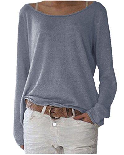 ZANZEA Damen Langarm Lose Bluse Hemd Shirt Oversize Sweatshirt Oberteil Tops Marine EU 36-38/Etikettgröße S