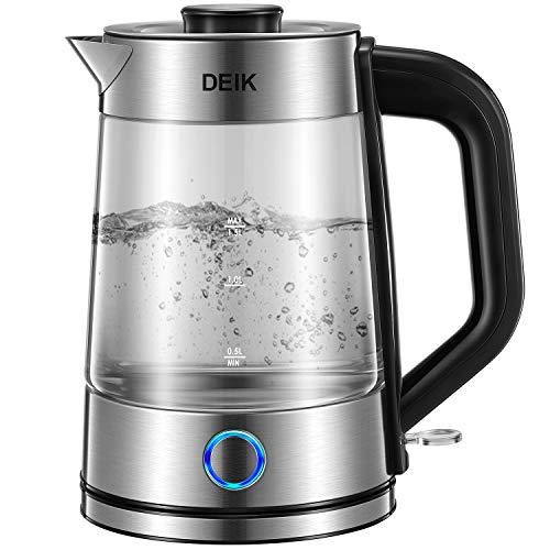 Glas Wasserkocher, Wasserkocher 1.7L Glaswasserkocher mit Filterauslauf, BPA-Frei Boro-Silikatglas Wasserkocher, 2200W Blaue LED-Anzeige mit Kalkfilter