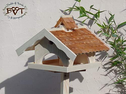 vogelfutterhaus, Vogelhäuser mit Ständer, BTVK-VONI5-MS-dbraun002,groß,wetterfest,PREMIUM-Qualität,Vogelhaus,VOGELFUTTERHAUS + Nistkasten 100% KOMBI MIT NISTHILFE für Vögel KOMPLETT mit Ständer wetterfest lasiert, WETTERFEST, QUALITÄTS-SCHREINERARBEIT-aus 100% Vollholz, Holz Futterhaus für Vögel, MIT FUTTERSCHACHT Futtervorrat, Vogelfutter-Station Farbe braun dunkelbraun schokobraun rustikal klassisch, MIT TIEFEM WETTERSCHUTZ-DACH für trockenes Futter - 3