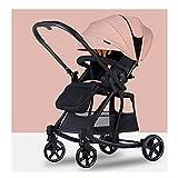 Yyqx sillas de Paseo Cochecito de Empuje de Dos vías, Puede Sentarse y acostarse Ligero y Plegar un botón retráctiles retrollables de Dos vías Push Cradle Coche Infantil (Color : Princess Pink)
