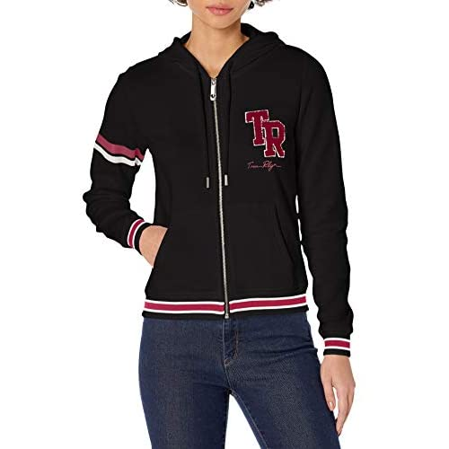 True Religion Women's Collegiate Long Sleeve Zip Up Hoodie Hooded Sweatshirt