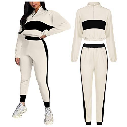 URIBAKE Womens Sports Two-Piece Suit Long Sleeve Patchwork Sweatshirt + Pants