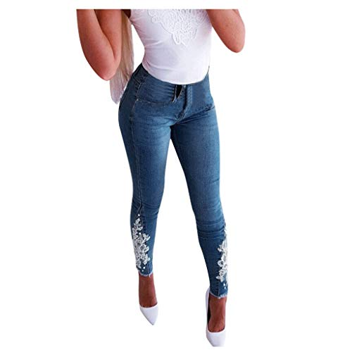 Lazapa Pocket Jeans for Women, Fashion Embroidered Sexy High Waist Boot Cut Denim Jeans Slimming Tight Wild Pencil Pant Blue