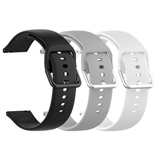 Idealeben 3pcs Cinturino di Ricambio in Silicone 20 mm, Compatibile con Galaxy Watch Active, Cinturino Sostitutivo Smartwatch, Bracciale Sportivo Traspirante, Nero, Bianco, Grigio (5.5-6.7 Pollici)
