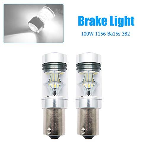 Maso 1156 Lot de 2 Feux de freins de voiture 100 W BA15S 382 P21W Cree XBD Blanc LED, Stop de stationnement, Ampoule Canbus