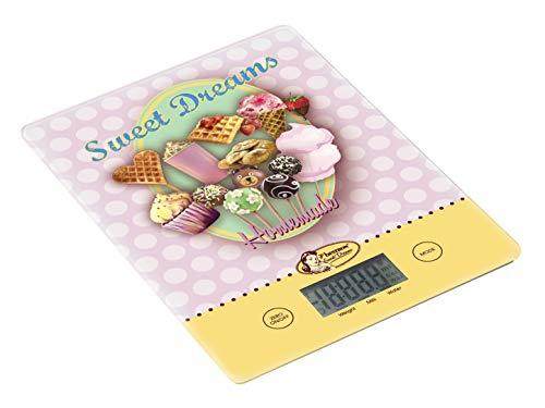 Bestron Báscula de Cocina Digital con Pantalla LCD, Diseño retro, Sweet Dreams, Capacidad 5 kg, Precisión sobre 1 g, Cristal, Rosa
