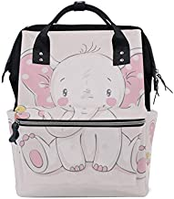 ColourLife Diaper Bag Backpack Lovely Pink Elephant Casual Daypack Multi-Functional Nappy Bags