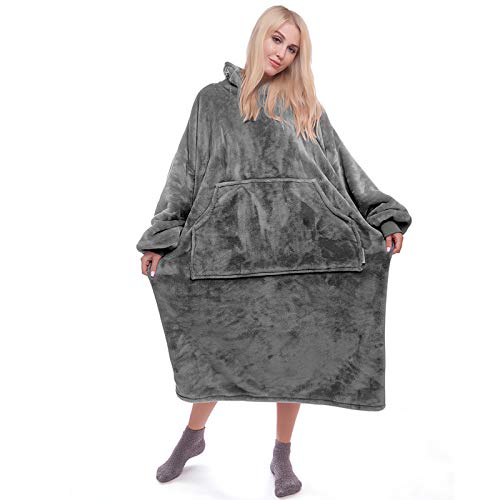 Blanket Sweatshirt Wearable Blanket Blanket Hoodie for Adult and Child Super Warm and Cozy Hoody Blanket Fleece Blanket with Sleeves and Giant Pocket Dark Gray