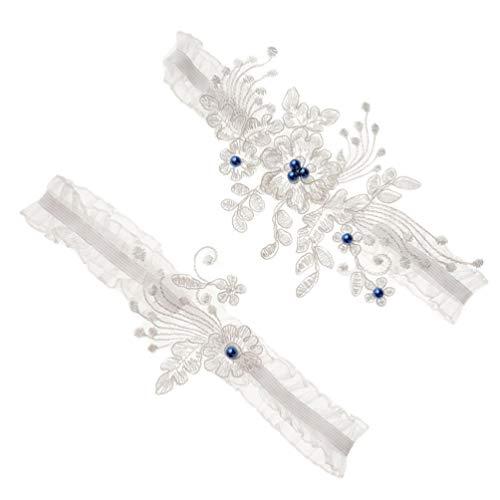 ABOOFAN 1 par de Cinturones de Liga de Encaje de Boda Diamantes de Imitación Anillo de Pierna de Perla Estirable para Fiesta Lencería Nupcial Liga de Pierna Azul