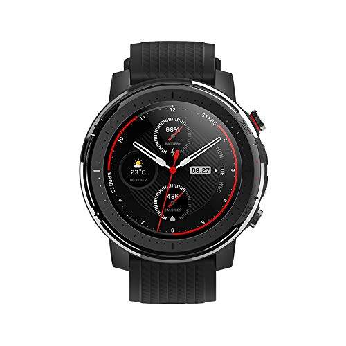 Amazfit Stratos 3 Smartwatch - mit PPG Herzfrequenz-Sensor, TFT-Display, Bluetooth-Kopfhörer koppelbar - 5ATM wasserdicht, Black