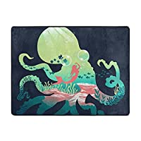 Octopus Mermaid柔らかいふわふわの寝室の敷物,大判 プレイマット フロアマット,カーペット 厚手 おしゃれ 洗える 畳 北欧 絨毯 滑り止め 年中 ラグマット 洗濯 傷防止 おしゃれ マット 防音マッ,男の子の女の子の赤ん坊のための区域の敷物,の寮の居間の装飾の床のカーペット(160cmx120cm) 国際安全基準合格。