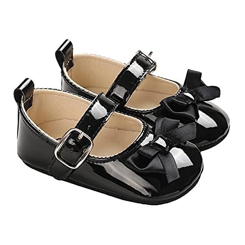 Siyova Scarpe Neonata Scarpe da Principessa per Bambini con Fiocco Scarpe Battesimo in PU Tinta Unita Scarpe Primi Passi Scarpe Bimba Elegante Carino (Nero, 6-12 Mesi)