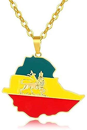 LBBYMX Co.,ltd Collar de Moda Bandera etíope y Mapa de León Collares Pendientes Mujeres/Hombres Joyería Color Dorado Mapas de África Etiopía Collar de león Joyería