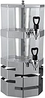 Stack-able Juice Drink Dispenser Heavy Duty Stainless Steel Base & Rings with Center ice core 3.5 Liter per Tier Stackable (2 Tier)