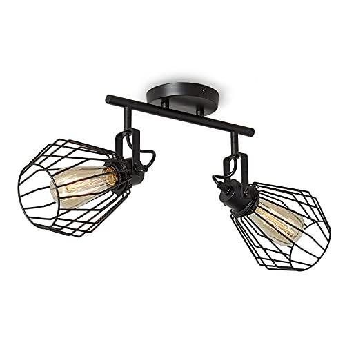 ENCOFT Cage Iluminación de Techo con 2 Luz E27 Giratoria 180°, Lámpara de Techo en Metal Industrial Interior, Aplique de Pared Giratorio para Dormitorio Comedor, Negro Sin Bombilla