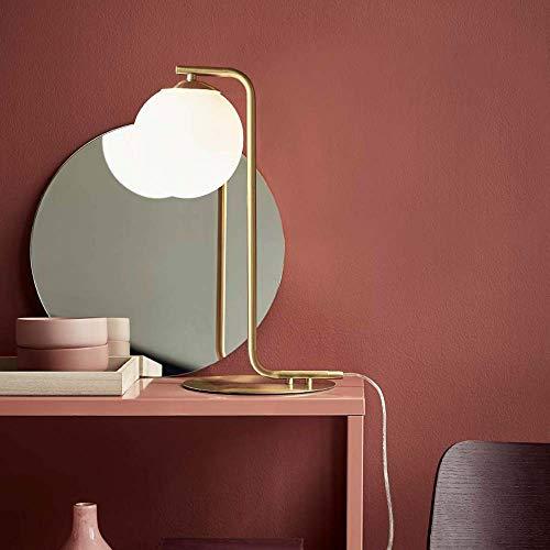 Nordlux 46635025 Grant Lámpara de mesa de cristal de ópalo de latón moderno