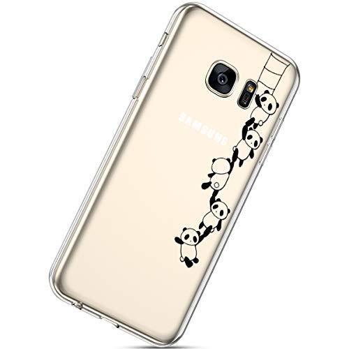 Herbests Cover Galaxy S7, Case Galaxy S7 Flessibile Morbida Gel Silicone Custodia Ultra Slim Colorate Carino Dipinto Crystal Clear TPU Silicone Case,Panda