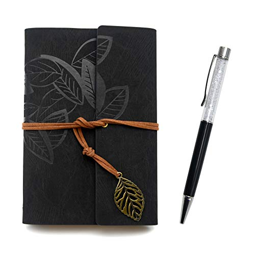 Writing Journals Notebook (Memo Book) Refillable Leather Women's Notebook Journals, A6(7×5inch) Travel Diary, Best Gift for Teens Girls and Boys (Gray-Black,Lined Journals)