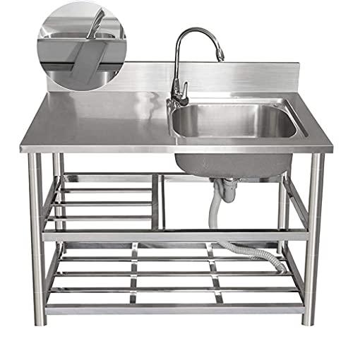 Fregadero de cocina de acero inoxidable 304, lavaplatos simple con banco de trabajo de soporte, grifo de agua fría y caliente con cuello de cisne de 360 grados, estante de almacenamiento de 3 c
