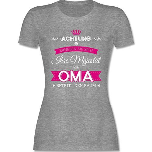 Oma - Ihre Majestät die Oma - XL - Grau meliert - t-Shirt oma 2019 - L191 - Tailliertes Tshirt für Damen und Frauen T-Shirt