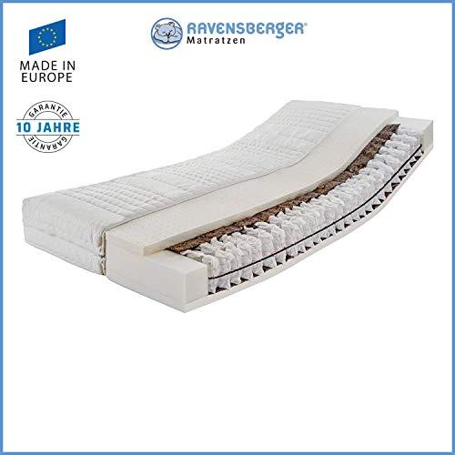 Ravensberger Matratzen® ERGOspring TFK 1000 | 7-Zonen Deluxe Tonnen-Taschenfederkernmatratze 1000 H2 (bis 95 kg) | Made IN Germany - 10 Jahre Garantie | Bezug Tencel-Doppeltuch 140x200 cm