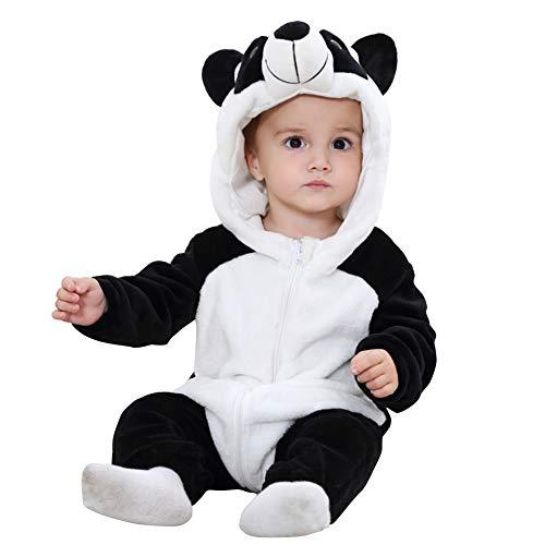 Pagliaccetto con Cappuccio Cerniera con Cerniera Flanella Tute Tute Stile Animali Neonato Unisex Primavera Autunno Inverno Abiti per Bambini Ragazzi Ragazze (13-18 Mesi, Panda)