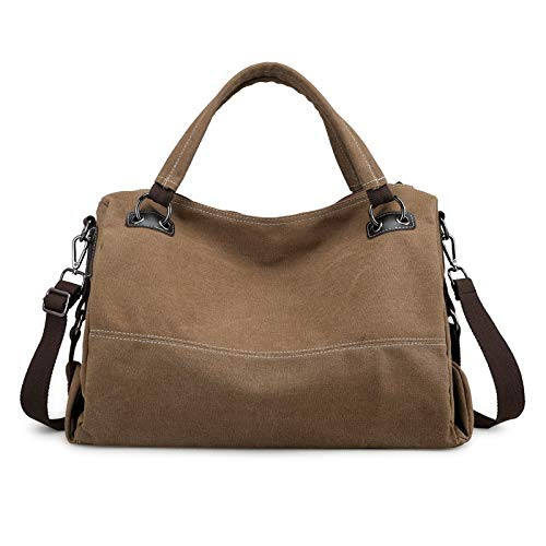 SUNXK European and American retro casual canvas bag handbag simple large capacity Ms. shoulder portable Messenger bag ethnic style theatrical package (Color : Coffee, Size : 43X30X17CM)