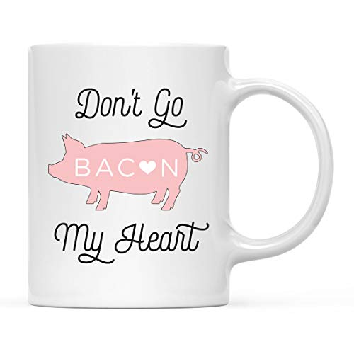 Andaz Press Funny Food Pun 11oz. Ceramic Coffee Tea Mug Gift, Don't Go Bacon My Heart, Pig Graphic, 1-Pack, Birthday Christmas Gift Ideas