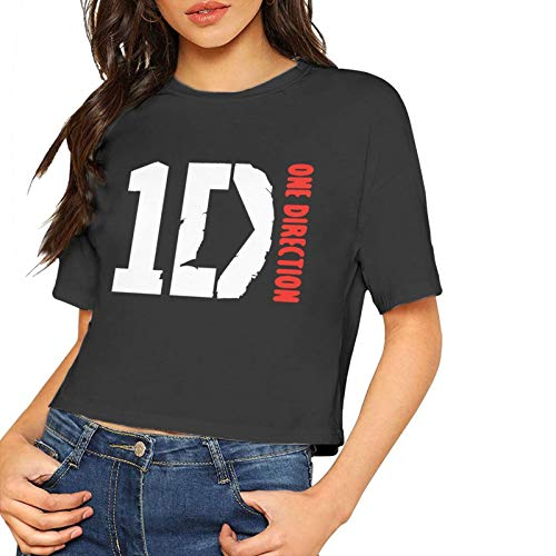 One Direction 1d Women's T Shirts Sexy Casual Crop Tops Tee Black